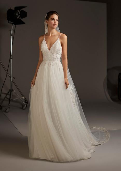 Volantia gown from the 2020 Pronovias collection, as seen on Bride.Canada