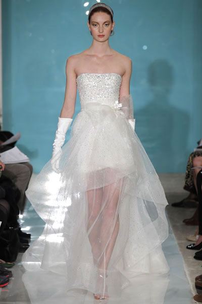 Mini Glamour + Drizzle Overskirt gown from the 2013 Reem Acra collection, as seen on Bride.Canada