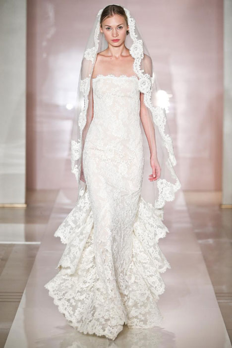 Carmen gown from the 2014 Reem Acra collection, as seen on Bride.Canada