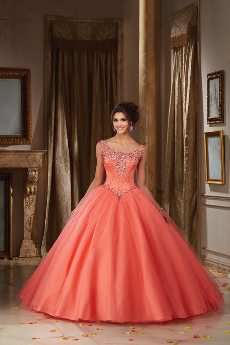 89108 (coral) gown from the 2016 Morilee Vizcaya collection, as seen on Bride.Canada