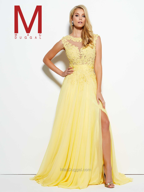10022M (lemon) gown from the 2016 Mac Duggal Prom collection, as seen on Bride.Canada