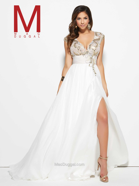10083M (ivory & nude) gown from the 2016 Mac Duggal Prom collection, as seen on Bride.Canada