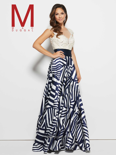 20028M (navy & ivory) gown from the 2016 Mac Duggal Prom collection, as seen on Bride.Canada