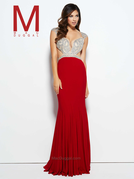 76976M (red & nude) gown from the 2016 Mac Duggal Prom collection, as seen on Bride.Canada
