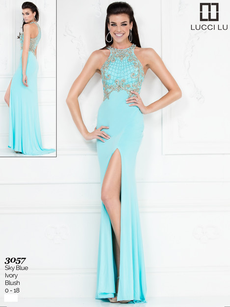 3057 (sky blue) gown from the 2017 Lucci Lu collection, as seen on Bride.Canada