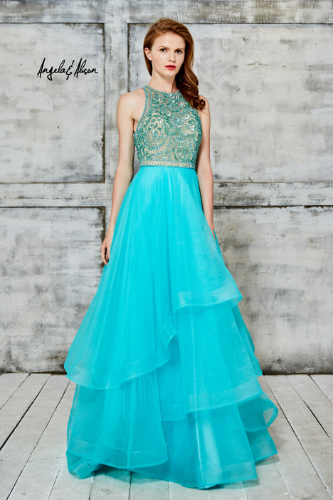61017 (spring green) gown from the 2016 Angela & Alison Prom collection, as seen on Bride.Canada