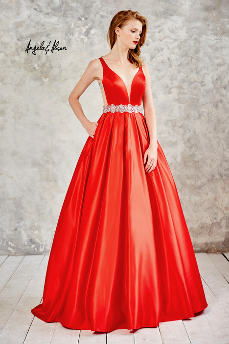 61021 (hot red) gown from the 2016 Angela & Alison Prom collection, as seen on Bride.Canada