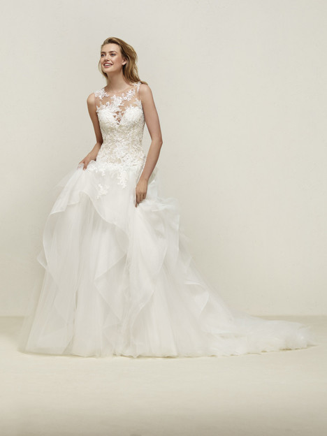 Drapin gown from the 2018 Pronovias collection, as seen on Bride.Canada