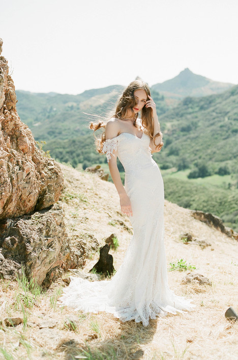 Bordeaux gown from the 2018 Claire Pettibone: Romantique collection, as seen on Bride.Canada
