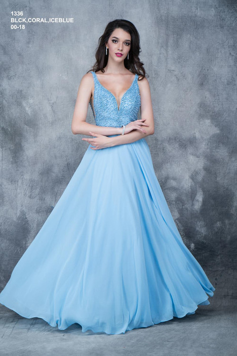 1336 (ice blue) gown from the 2018 Nina Canacci collection, as seen on Bride.Canada