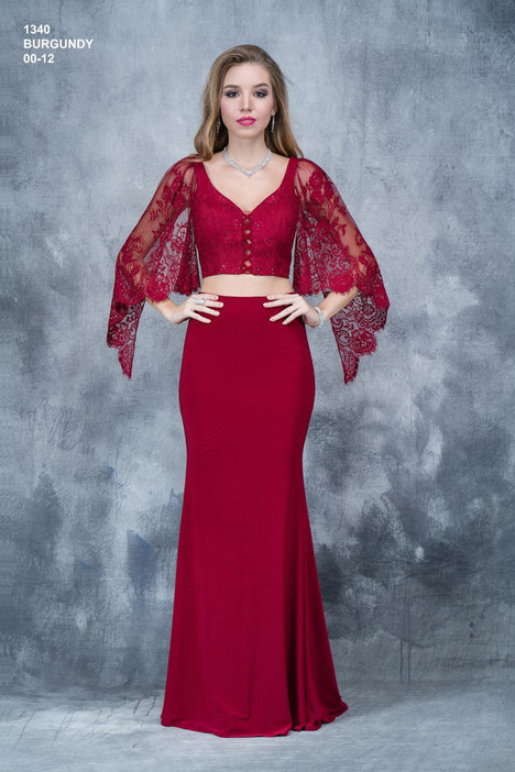 1340 (burgundy) gown from the 2018 Nina Canacci collection, as seen on Bride.Canada