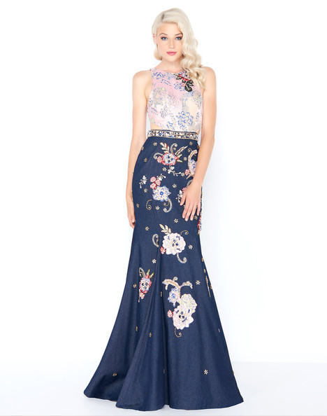 40845M (Denim) gown from the 2018 Mac Duggal Prom collection, as seen on Bride.Canada