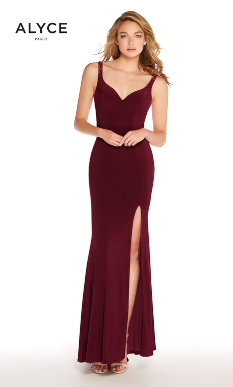 60004 (Burgundy) gown from the 2018 Alyce Paris collection, as seen on Bride.Canada