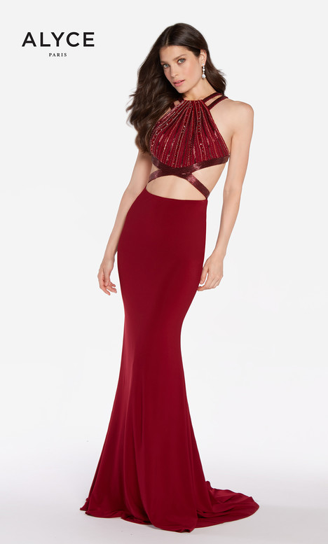 60015 (Wine Red) gown from the 2018 Alyce Paris collection, as seen on Bride.Canada