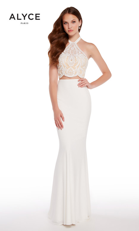 60021 (White + Nude) gown from the 2018 Alyce Paris collection, as seen on Bride.Canada