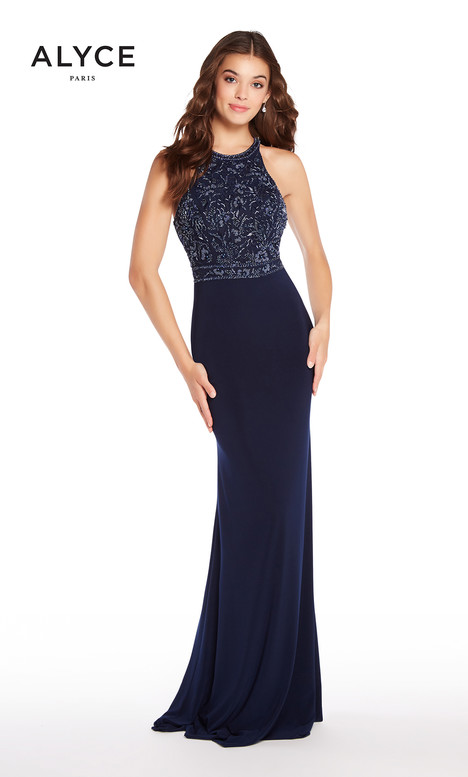 60023 (Navy) gown from the 2018 Alyce Paris collection, as seen on Bride.Canada