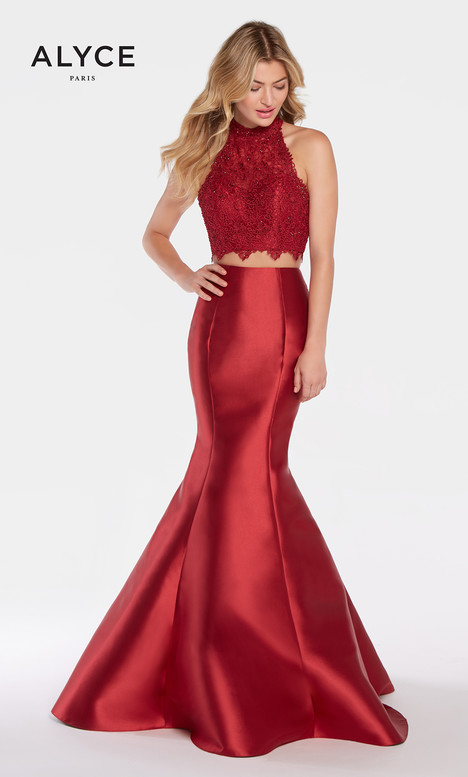 60057 (Burgundy) gown from the 2018 Alyce Paris collection, as seen on Bride.Canada