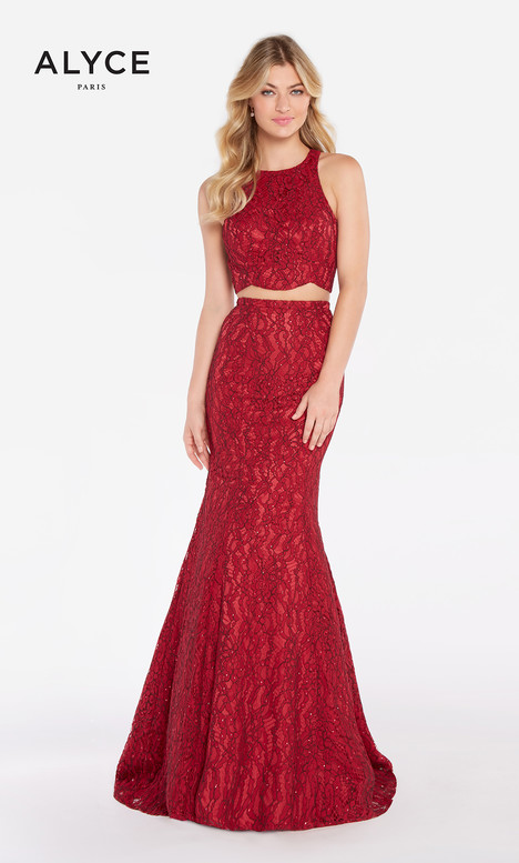 60066 (Burgundy) gown from the 2018 Alyce Paris collection, as seen on Bride.Canada