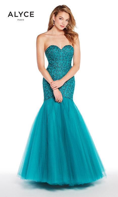 60229 (Teal) gown from the 2018 Alyce Paris collection, as seen on Bride.Canada