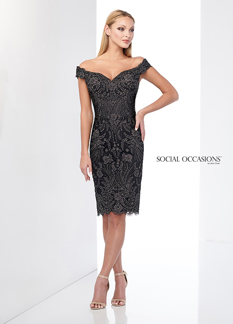 218805 (Black/Pewter) gown from the 2018 Mon Cheri: Social Occasions collection, as seen on Bride.Canada