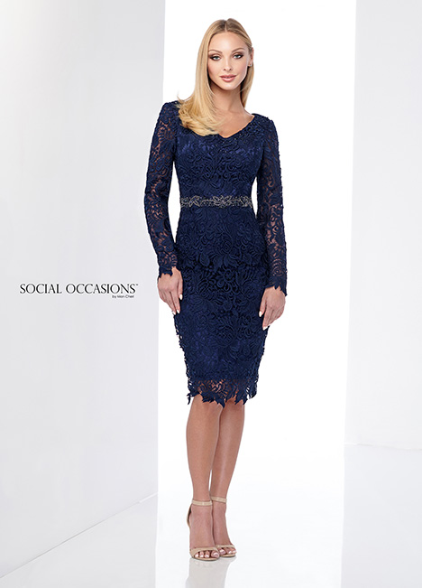 218813 (Navy Blue) gown from the 2018 Mon Cheri: Social Occasions collection, as seen on Bride.Canada