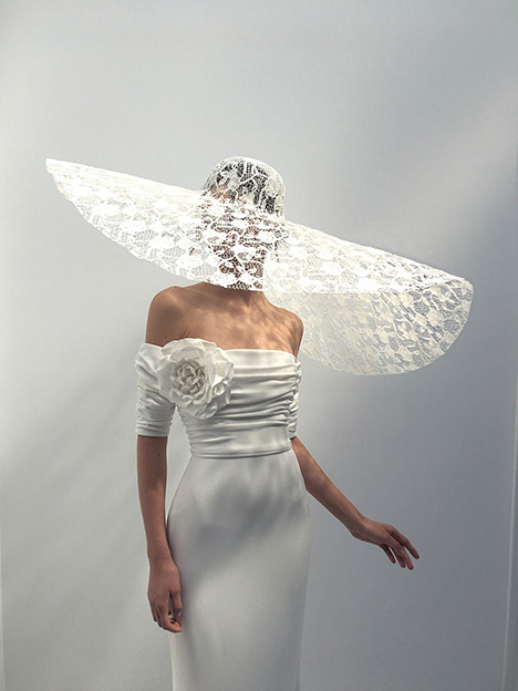 Celine (+ Mandy hat) gown from the 2019 Alon Livne : White collection, as seen on Bride.Canada