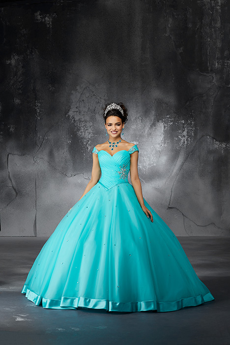 60057 (Deep Aqua) gown from the 2018 Morilee Valencia collection, as seen on Bride.Canada