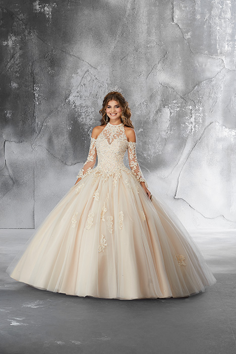 89182 (Champagne) gown from the 2018 Morilee Vizcaya collection, as seen on Bride.Canada