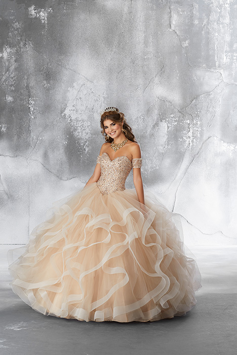 89185 (Champagne) gown from the 2018 Morilee Vizcaya collection, as seen on Bride.Canada
