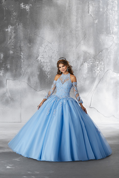 89192 (Bahama Blue) gown from the 2018 Morilee Vizcaya collection, as seen on Bride.Canada