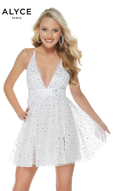 127 (White/Silver) gown from the 2018 Alyce Paris: Semi Formal collection, as seen on Bride.Canada