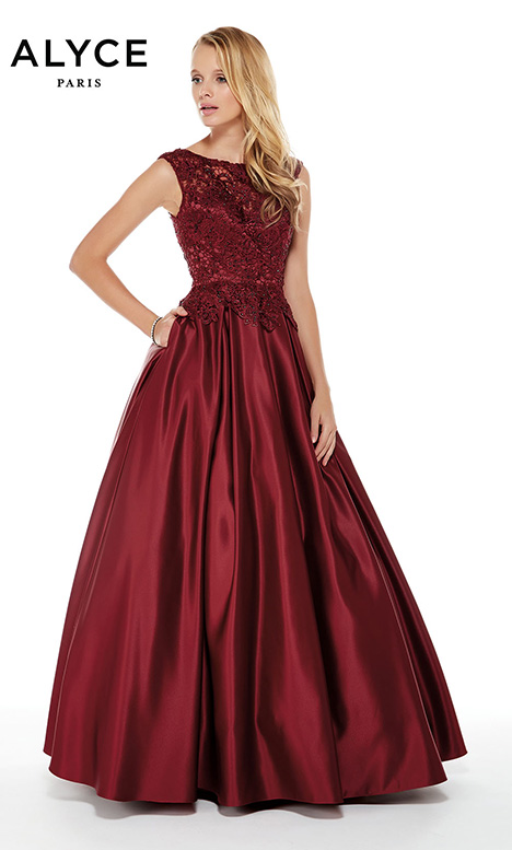 27010 (Burgundy) gown from the 2018 Alyce Paris: JDL Collection collection, as seen on Bride.Canada