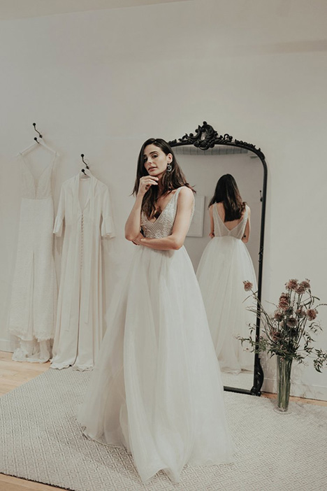 Regal gown from the 2018 Brides by Sarah Seven collection, as seen on Bride.Canada