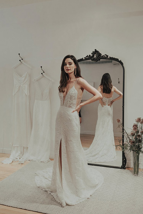 Royal (lace) gown from the 2018 Brides by Sarah Seven collection, as seen on Bride.Canada