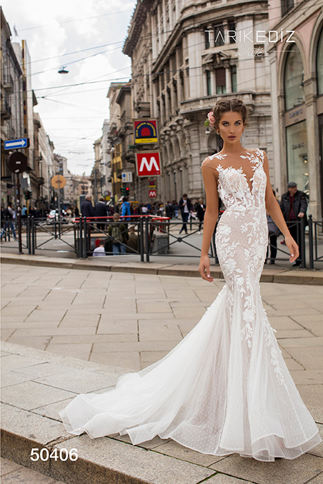 50406 gown from the 2019 Tarik Ediz: White collection, as seen on Bride.Canada