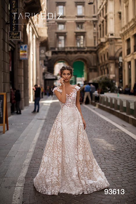 93613 gown from the 2019 Tarik Ediz: White collection, as seen on Bride.Canada