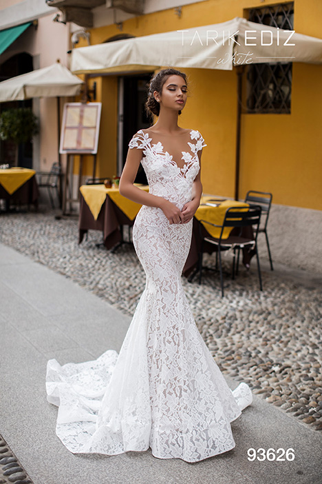 93626 gown from the 2019 Tarik Ediz: White collection, as seen on Bride.Canada