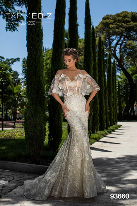 93660 gown from the 2019 Tarik Ediz: White collection, as seen on Bride.Canada
