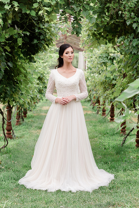 TR11973 gown from the 2019 Modest by Mon Cheri collection, as seen on Bride.Canada