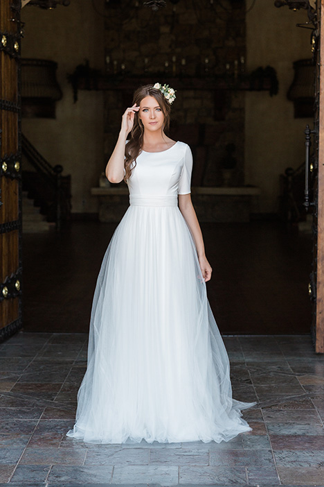 TR11980 gown from the 2019 Modest by Mon Cheri collection, as seen on Bride.Canada