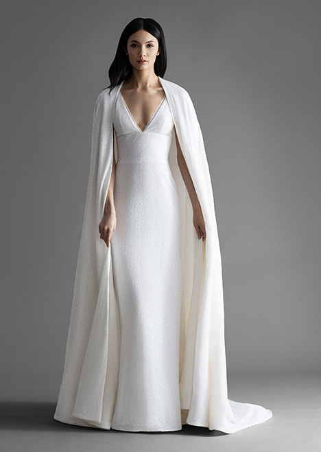 Brinlee (4911) (+ cape) gown from the 2019 Allison Webb collection, as seen on Bride.Canada