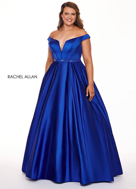 6670 (royal blue) gown from the 2019 Rachel Allan : Curves collection, as seen on Bride.Canada