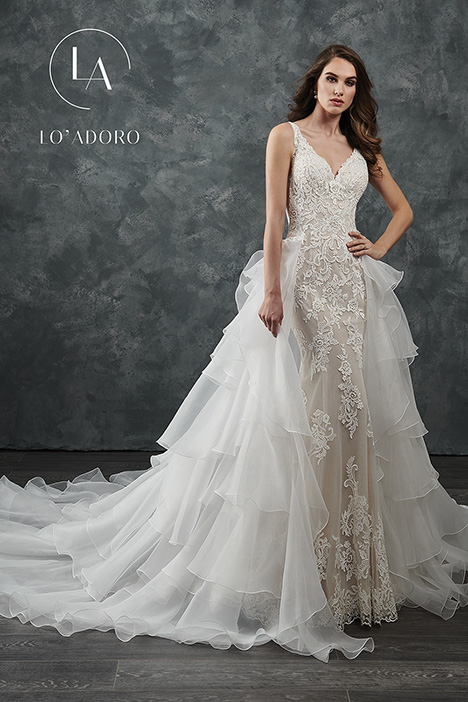 M654 + overskirt gown from the 2018 Lo' Adoro collection, as seen on Bride.Canada