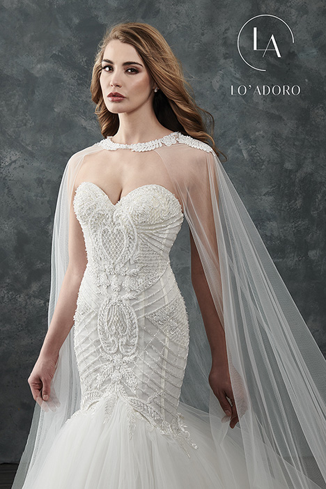 M660 + cape gown from the 2018 Lo' Adoro collection, as seen on Bride.Canada