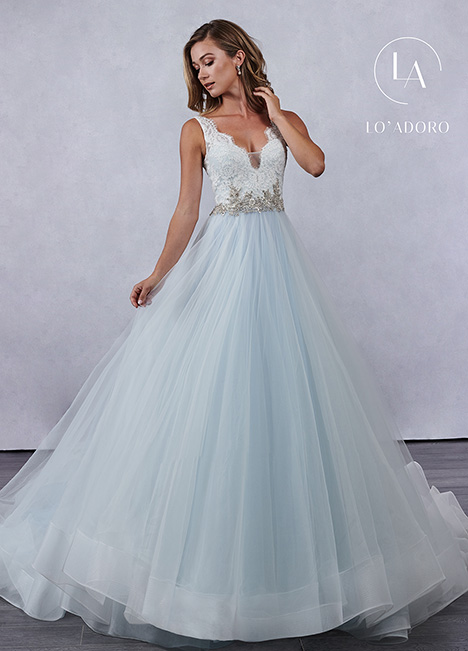 M694 (blue) gown from the 2019 Lo' Adoro collection, as seen on Bride.Canada