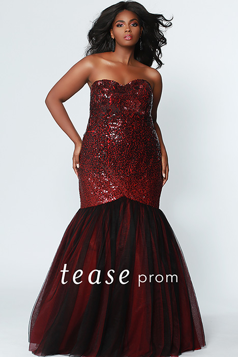 TE 1901 Burgundy gown from the 2019 Tease Prom+ collection, as seen on Bride.Canada