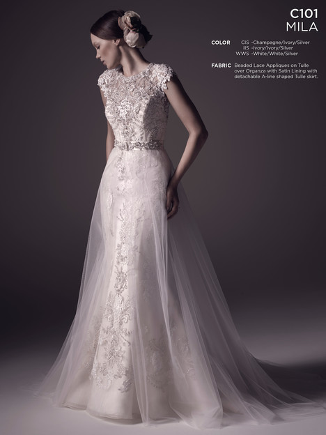 Mila + Overskirt Wedding dress by Amare