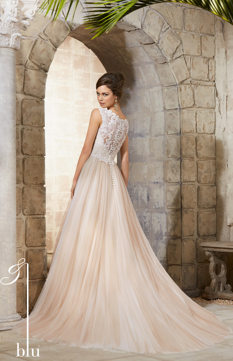 Style 5368 (back) gown from the 2015 Morilee Blu collection, as seen on dressfinder.ca