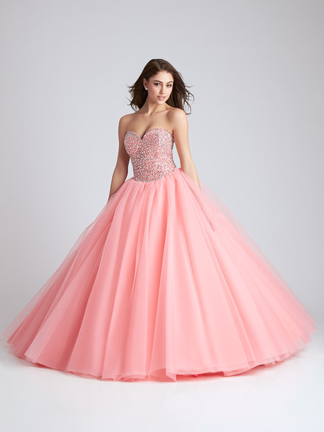 Q538 (coral) Prom                                             dress by Allure Quinceanera