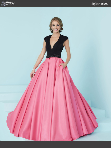 16200 (black & peonies pink) Prom dress by Tiffany Designs